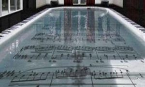 music notes on pool